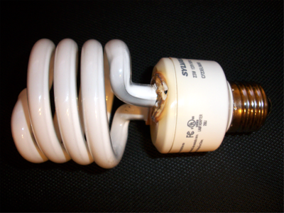 Burned out compact fluorescent bulb