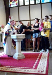 Baptism begins