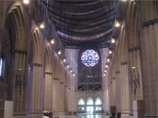 Netting in cathedral nave