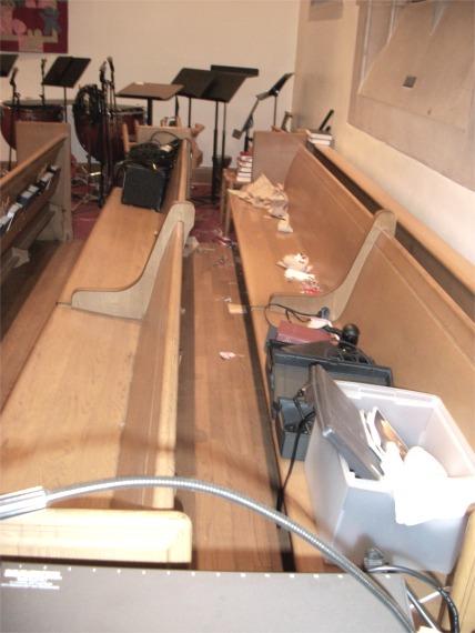 Rear pews in transept