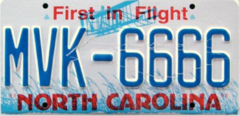 """First in Flight"" license plate"