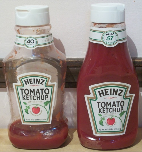 Old 40-oz Ketchup (left) and new 38-oz Ketchup (right)