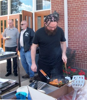 Kris McInnis at the grill