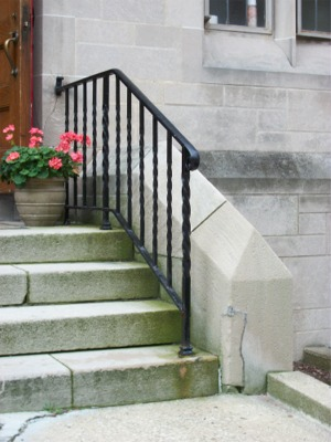 Railing at entrance near church office