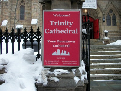 Sign in front of cathedral