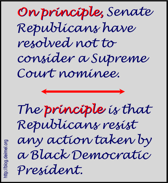 The Republican principle is simply to oppose President Obama.