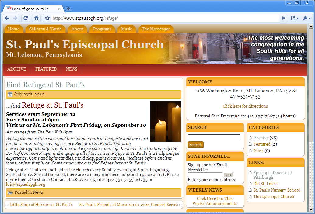 Refuge page on church Web site