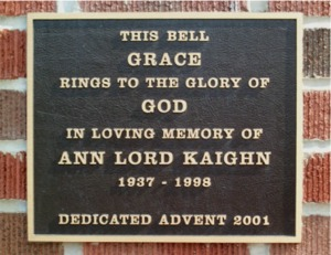 Plaque on bell tower