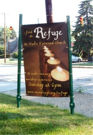 Refuge sign facing building