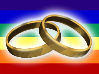 Rings on rainbow background