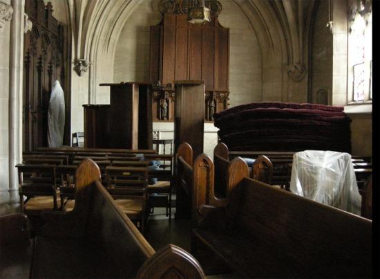 Pews in chapel