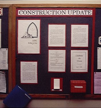 Bulletin board near project completetion